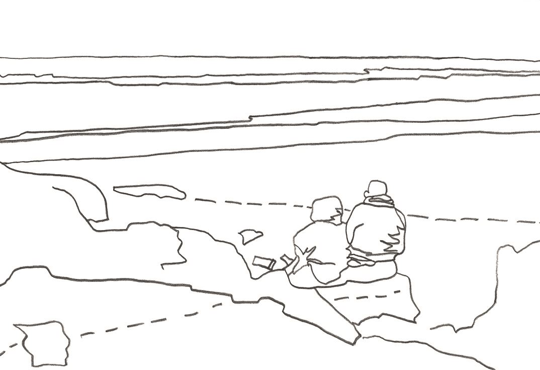 Strandszene zeichnen