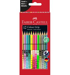 Faber-Castell - Colour Grip Buntstift, 12er Kartonetui mit Sonderfarben