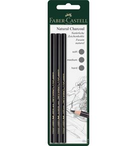 Faber-Castell - Pitt Zeichenkohlestift Set, soft, medium, hart