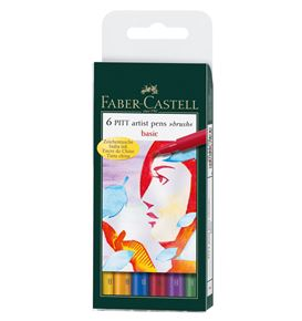 Faber-Castell - Pitt Artist Pen Brush Tuschestift, 6er Etui, Basic