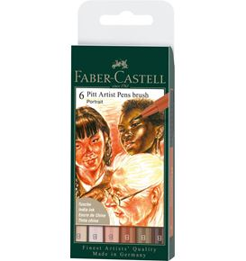 Faber-Castell - Tuschestift Pitt Artist Pen Brush 6er Etui Portrait