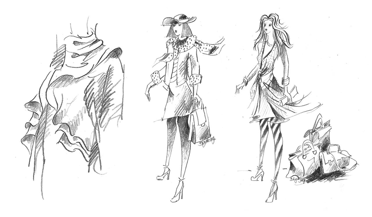 Castell 9000 Jumbo was used for these fashion sketches